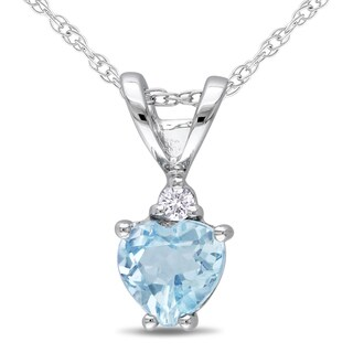 Miadora 10k White Gold Diamond Blue Topaz Pendant
