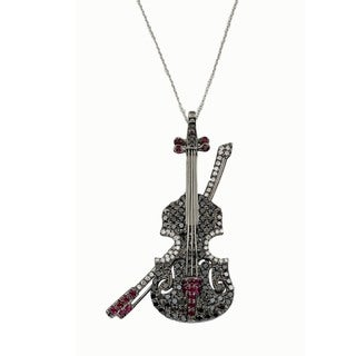 Kabella 18K White Gold 1 1/8ct TDW Black and White Diamond and Ruby Accent Violin Pin Brooch Pendant