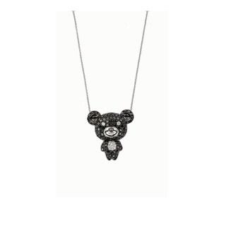 Kabella 18k White Gold 5/6ct TDW Black and White Diamond Teddy Bear Pendant (G-H, SI1)