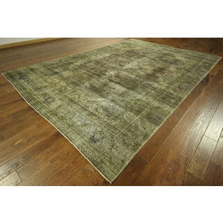 Oriental Green Wash Overyded Hand-knotted H8882 Wool Floral Area Rug (9' x 13')