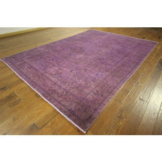 One of a Kind Floral Purple Overdyed Hand-knotted H8864 Wool Area Rug (8'x12')