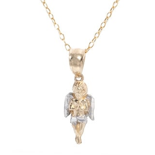 Pori 14k Two-Tone Gold Angel Pendant with Chain