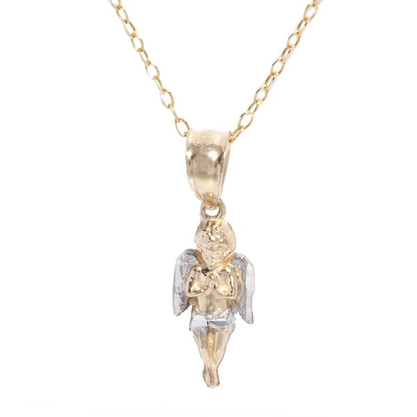 Shop pori 14k two tone gold angel pendant with chain on sale pori 14k two tone gold angel pendant with chain aloadofball Images