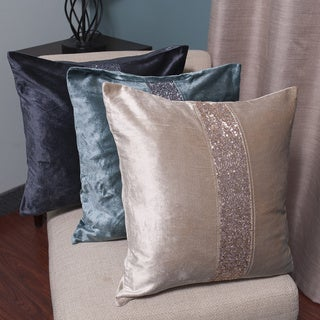 Zippered Velvet Sequin Stripe Decorative Throw Pillow
