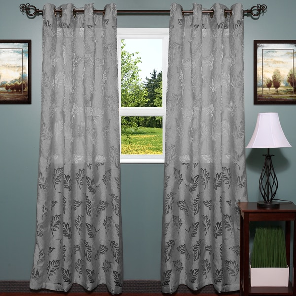 Shop Luxurious Textured Semi Sheer Leaf Pattern Curtain