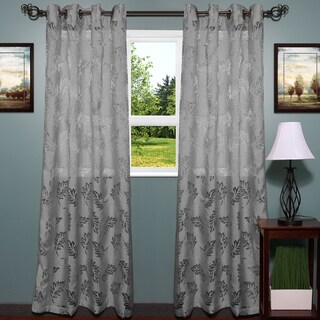Luxurious Textured Semi Sheer Leaf Pattern Curtain Panel