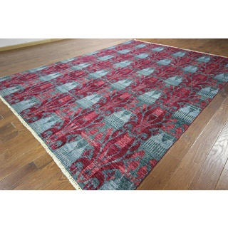 One of a Kind Blue & Red Modern Ikat Hand-knotted H8783 Wool Area Rug (9' x 12')