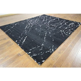 Unique Splatter Design Black Moroccan Hand-knotted H8858 Wool Area Rug (9' x 10')