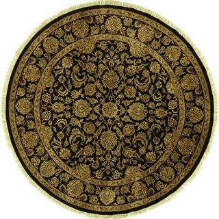 Elegant Herati Design Black Rajasthani Hand-knotted H8807 Wool Area Rug (9' Round)