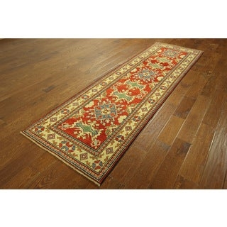 New Hand-knotted S598 Runner Red Cuacasian Super Kazek Floral Rug (2'9 x 9'')