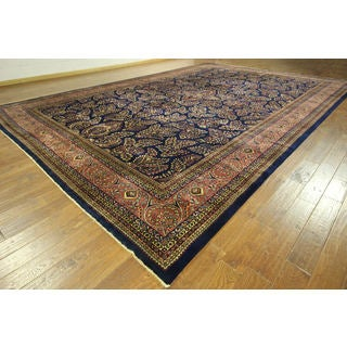 New One of a Kind Luminous Blue Sarouk Hand-knotted H8748 Wool Aea Rug (12' x 18')