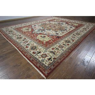 New Floral Oriental Ivory Heriz Serapi Hand-knotted H8761 Wool Area Rug (12' x 15')