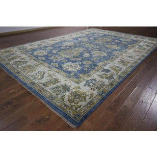 New Antique Washed Blue Oushak Wool and Wool Hand-knotted H8769 Area Rug (10' x 15')