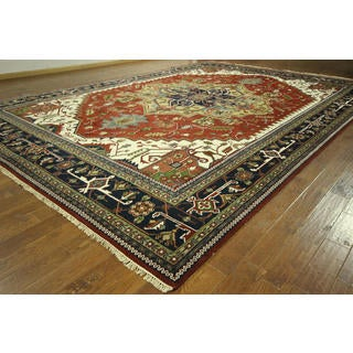 Traditional Red & Navy Blue Heriz Serapi Hand-knotted H8771 Wool Area Rug (12' x 18')