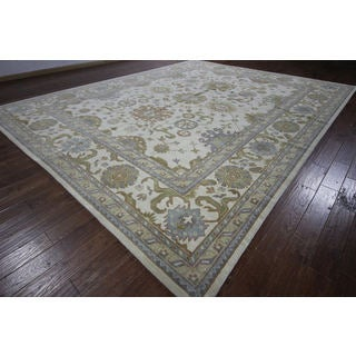 Oushak Collection Ivory Floral Oriental Hand-knotted H8773 Wool Area Rug (12' x 15')
