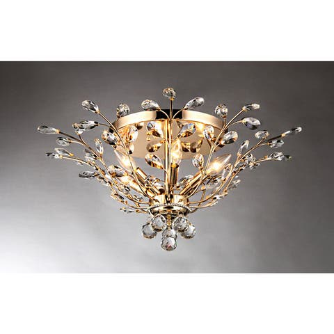 Ava 6-light Gold 27-inch Crystal Flush Mount