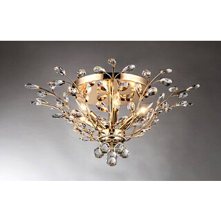 Ava 6-light Gold 27-inch Crystal Flush Mount