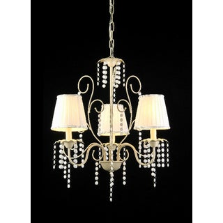 Elle 3-light Off-white 21-inch Crystal Chandelier