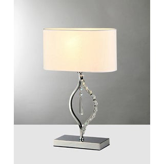 Rowena 1-light White 18-inch Chrome Table Lamp