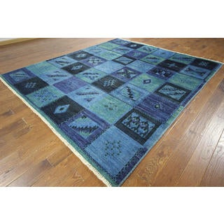 Modern Collection Blue Wash Signed Overdyed Hand-knotted H8786 Wool Rug (9' x 10')