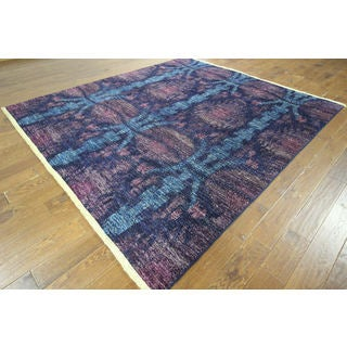 Modern Kaitag Collection Blue Overdyed Hand-knotted H8788 Wool Area Rug (8' x 9')
