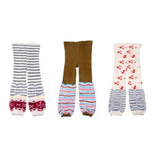 Crummy Bunny Stripes and Cherries Girls Leggings (Set of 3)