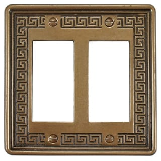 SomerTile 5x5-inch Courant Greek Key Bronze Double-Gang Decora Wall Plate (Pack of 5)