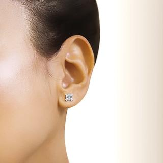 Annello by Kobelli 14k Gold Forever One 2 1/5ct TGW Cushion Moissanite Stud Earrings