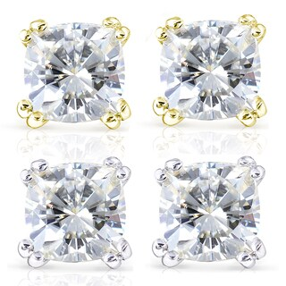 Annello by Kobelli 14k Gold 2 1/5ct TGW Forever One DEF Cushion Moissanite Classic 4-Prong Stud Earrings