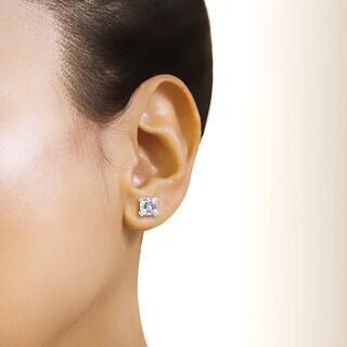 Annello by Kobelli 14k Gold Forever One 4ct TGW Cushion Moissanite Stud Earrings