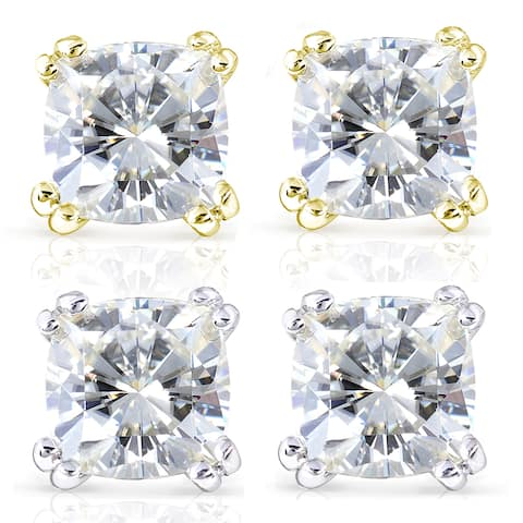 Annello by Kobelli 14k Gold 4ct TGW Forever One DEF Cushion Moissanite Classic 4-Prong Stud Earrings