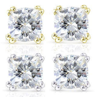 Annello 14k Gold Forever One 4ct TGW Cushion Moissanite Stud Earrings