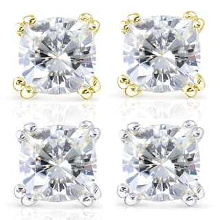 Annello by Kobelli 14k Gold Forever One 4ct TGW Cushion Moissanite Stud Earrings