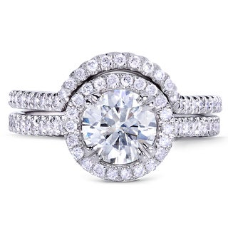Annello By Kobelli 14k White Gold 1 1 2ct TGW Forever One DEF Moissanite And Diamond Round Halo Fitted Bridal Rings 2pc Set