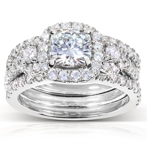 Annello by Kobelli 14k White Gold 2 1/2ct TGW Forever One DEF Moissanite and Diamond 3-Piece Unique Bridal Rings Set