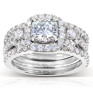 Annello by Kobelli 14k White Gold Forever One Cushion Moissanite and 1 1/3ct TDW Diamond 3-Piece Bri