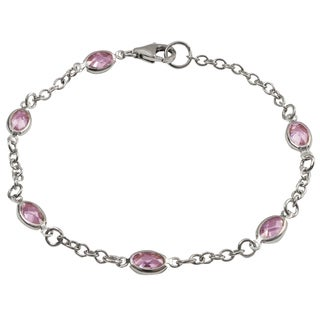 Luxiro Sterling Silver Champagne or Pink Cubic Zirconia Oval Link Bracelet