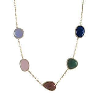 Luxiro Gold Finish Sterling Silver Semi-precious Gemstone Station Necklace