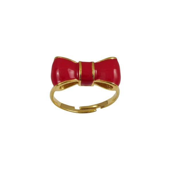 Luxiro Gold Finish Children's Red Enamel Bow Adjustable Ring