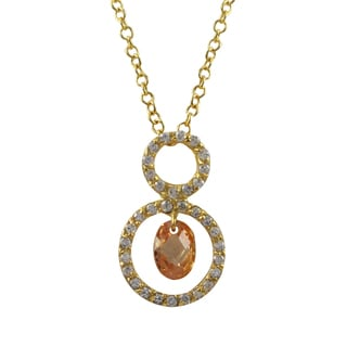 Luxiro Gold Finish Sterling Silver Cubic Zirconia Open Circles Pendant Necklace