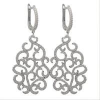 Luxiro Sterling Silver Cubic Zirconia Filigree Dangle Earrings