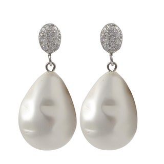 Luxiro Sterling Silver Baroque Shell Pearl Teardrop Dangle Earrings - White