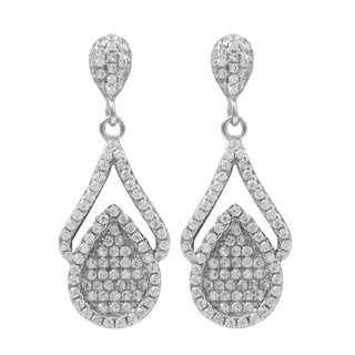 Rose Gold Finish Sterling Silver Pave Cubic Zirconia Teardrop Earrings