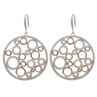 Luxiro Two-tone Sterling Silver Micropave Cubic Zirconia Bubbles Circle Dangle Earrings