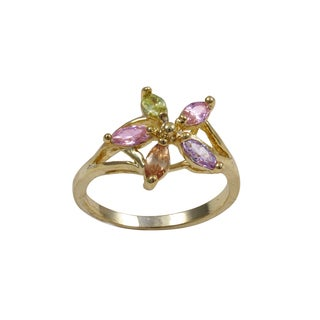 Luxiro Gold Finish Multi-Color Cubic Zirconia Flower Ring - Pink