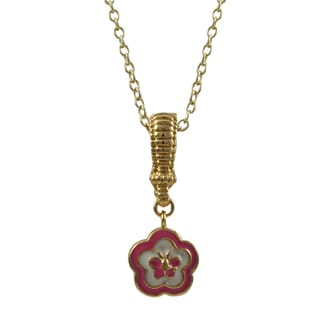 Luxiro Gold Finish Children's Enamel Flower Butterfly Enhancer Pendant Necklace