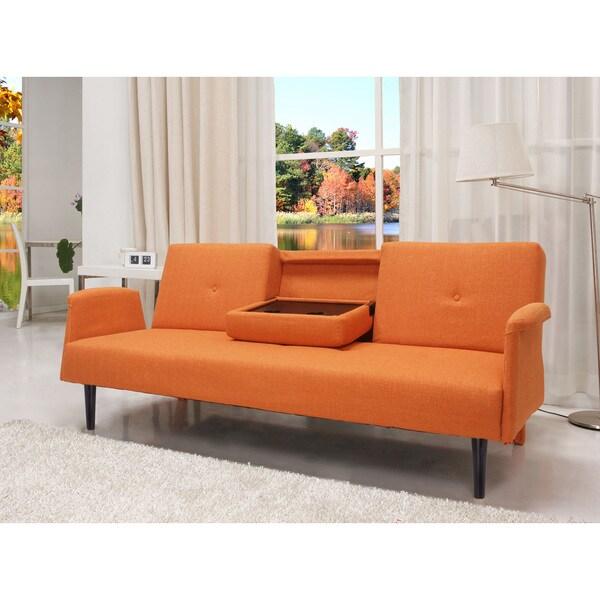 Shop Cambridge Orange Convertible Sofa Bed Free Shipping