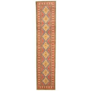 Herat Oriental Afghan Hand-knotted Tribal Kazak Wool Runner (2'5 x 11'3)