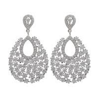 Luxiro Sterling Silver Cubic Zirconia Cluster Teardrop Dangle Earrings