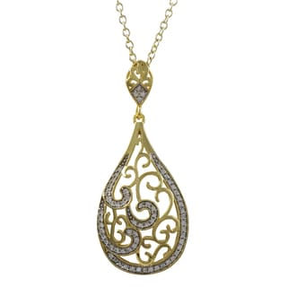 Luxiro Two-tone Sterling Silver Cubic Zirconia Filigree Teardrop Pendant Necklace